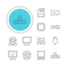Vector Illustration Of 12 Laptop Icons. Editable Pack Of Web Camera, Cooler, Laptop And Other Elements.