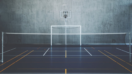 Front view of court in gymhall, indoors modern contemporary office stadium with basketball basket and hoop, football goal, tennis court with net and colored marking, concrete wall in background