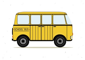 Cartoon yellow school bus