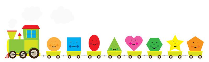 Fototapeta edukacyjny pociąg z figurami geometrycznymi dla dzieki / ilustracja wektorowa obraz