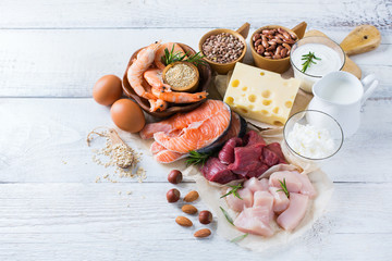 Foto auf Leinwand Sortiment Assortment of healthy protein source and body building food