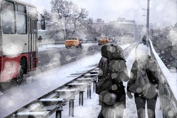 people walking in winter