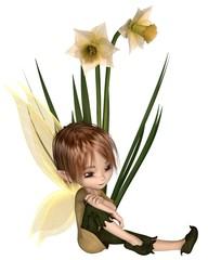 Cute Toon Daffodil Fairy Boy, Sitting next to Flowers - fantasy illustration