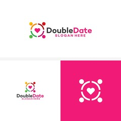 Double Date Logo Template Design Vector, Couple Love template designs logo illustration
