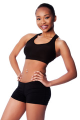 Happy healthy fit black asian woman