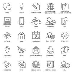 Icons contact us. Methods of communication with the contact center and information. The thin contour lines.