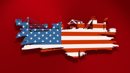 Energy and Power icons set and grunge brush stroke. Coal mining relative image. 3D rendering. Flag of the USA