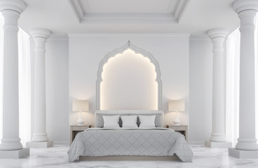Luxury white bedroom 3D rendering Image.There are decorated with arches indian style,doric column, white marble floor and hidden warm light