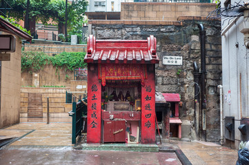 Traditional street shrine in Central district, Hong Kong
