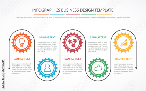 business process infographic concept template for business or