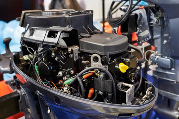 Open motor cover of fishing boat