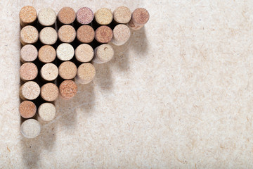 Wine crocks background horizontal. Copy space place for your text. Patterns of used wine stoppers. Assorted corks of white wine.
