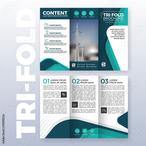 Quot Business Tri Fold Brochure Template Design With Turquoise