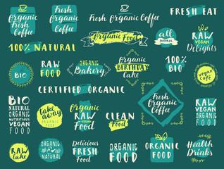 Organic Fresh Coffee. Fresh Natural Organic Food. Raw Vegan Delights. 100% Bio. Take away. Food labels for vegetarian restaurant, cafe, bakery menu. Hand drawn stickers. Lettering, calligraphy