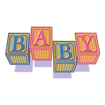 Baby block birth announcement spelling the word baby with childrens ABC blocks.