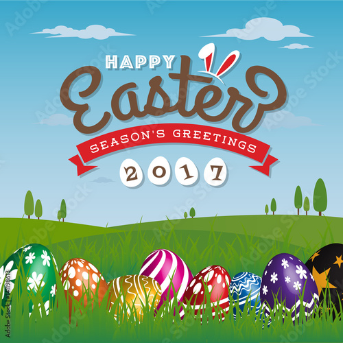Happy easter seasons greeting card 2017 painting eggs hidden on happy easter seasons greeting card 2017 painting eggs hidden on grass with easter typographic background m4hsunfo