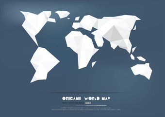 Origami World Map paper collection., vector illustration