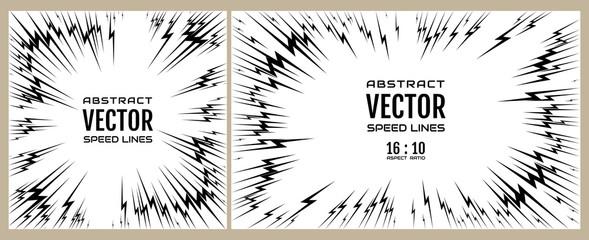 Set speed line of black lightning on white background. Festive illustration with effect power explosion. Element of design. Vector