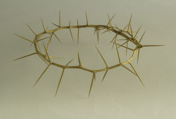 Gold crown on thorns on white canvas background