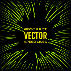Speed line of bright green curved arrows on black background. Festive illustration with effect power explosion. Element of design. Vector