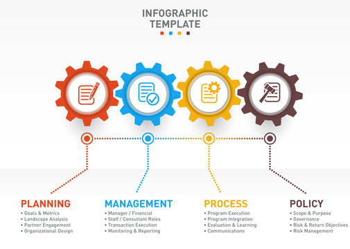 Vector business and industry gear style circle infographic for graphs, charts, diagrams with 4 options, parts, steps.