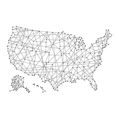 Map of USA from polygonal black lines and dots of vector illustration