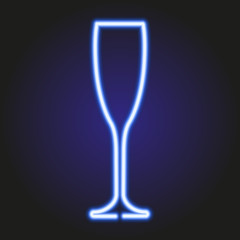 glass of champagne glowing blue neon of vector illustration