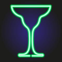 glass of margarita glowing green neon of vector illustration
