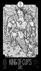 King of Cups. Orc. Minor Arcana Tarot card. Engraved vector illustration. See all collection in my portfolio set