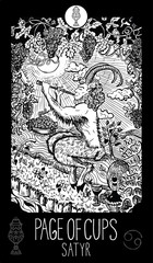Page of Cups. Satyr. Tarot card Major Arcana. Minor Arcana Tarot card. Engraved vector illustration. See all collection in my portfolio set
