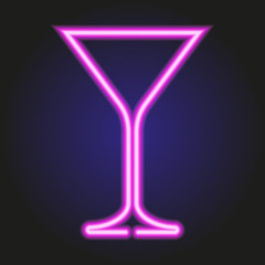 martini glass glowing pink neon of vector illustration