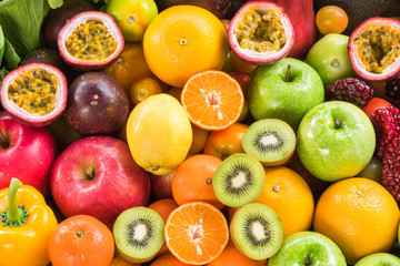 Various ripe fruits and vegetables for eating healthy