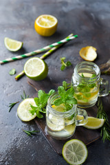 Mojito cocktail in mason jar