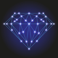 Crystal or faceted gem from polygonal blue lines and glowing stars vector illustration