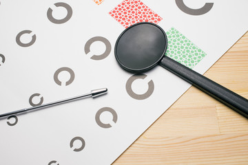 視力検査表の上の遮眼子と指示棒