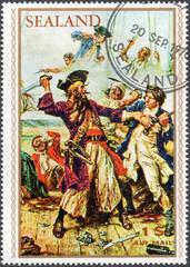 UKRAINE - CIRCA 2017: A stamp printed by Sealand, shows pirate Edward Teach Blackbeard, pirate attack, circa 1970