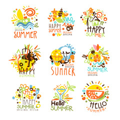 Happy Summer Vacation Sunny Colorful Graphic Design Template Logo Set, Hand Drawn Vector Stencils