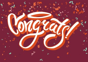 Congratulations on funny holiday graphic text congrats on abstract background.