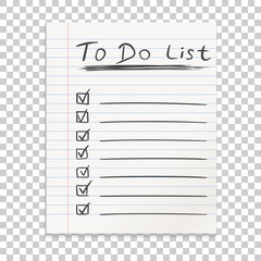 Realistic line paper note. To do list icon with hand drawn text. School business diary. Office stationery notebook on isolated background