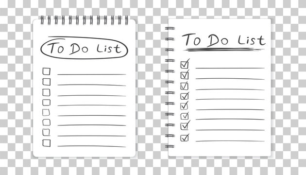 Realistic notepad with spiral. To do list icon with hand drawn text. School business diary. Office stationery notebook on isolated background