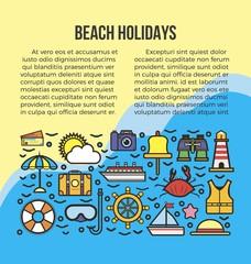 Nautical cruise elements set web banner add text
