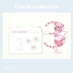 Counting educational, kids activity sheet. Learning numbers 3 stock vector illustration