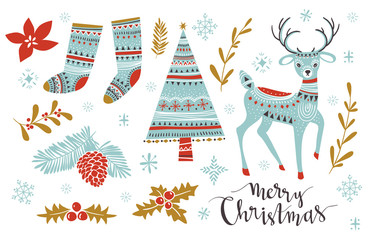 Christmas Set. Template for Greeting Scrap booking, Congratulations, Invitations. Vector illistration with isolated christmas elements.