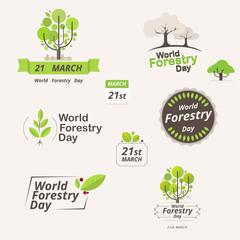 Forestry day logo design. 21st march.  vector illustration.