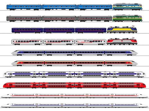Passenger train. Railway carriage. set
