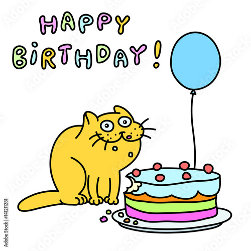 Funny Cat With A Cake And Balloon Congratulates Greeting Card Happy Birthday Vector Illustration
