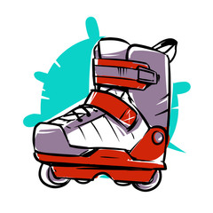 Extreme Inline Skates Icon. Aggressive Roller Skates