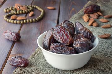 Dates fruits harvest. Traditional arabic food. Ramadan event.