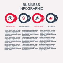 Business template, number paper, cut template. Conceptual creative template, infographic elements