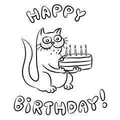 Happy Birthday Cat Vector Illustration